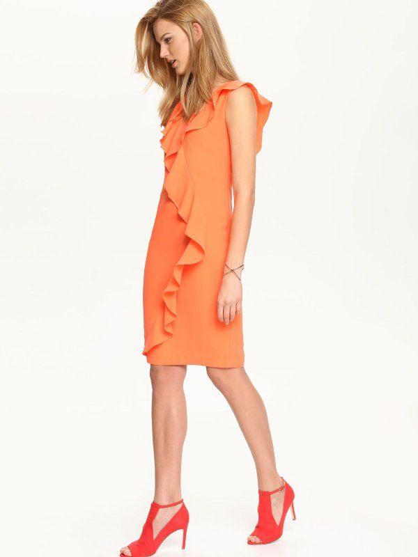 sukienka damska  pomarańczowa - SSU1539 TOP SECRET