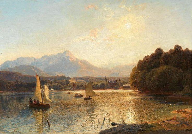 Anton Hlavacek    (Vienna 1842–1926)   Sunset over the Bay at Velden, Wörthersee, signed Hlavacek, oil on canvas, 44.5 x 62 cm, framed (Rei)    Specialist: Mag. Dimitra Reimüller