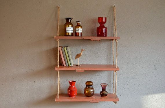 Suspended shelving library homemade Scandinavian industrial upcycling old flaps suspended shelves undue design antic shutter English
