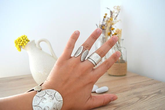 Bohemian Silver Engraved Shield Design Ring Silver Statement