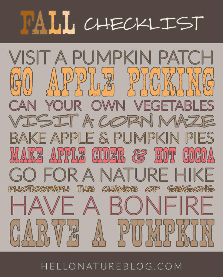Fall Checklist #autumn #fall #checklist #pumpkin #apple