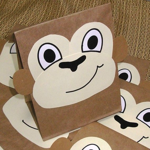 Monkey Treat Sacks - Jungle Zoo Safari Theme Birthday Party Goody Bags by jettabees on Etsy
