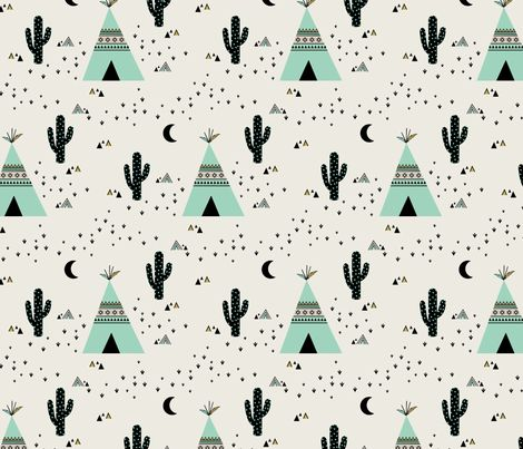 Teepee  Mint fabric by kimsa on Spoonflower - custom fabric
