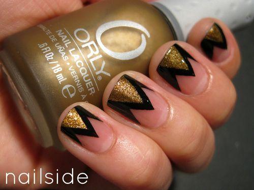 zagNails Art, Gold Nails, French Manicures, Nailart, Nails Design, Black Nails, Nails Polish, Nail Art, Chevron Nails