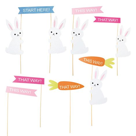 Arrange your own egg hunt. 7 signs to lead the way! Signs measure between 13-20 cm H. Paper/bamboo. For decorative use only. Keep out of reach of children.