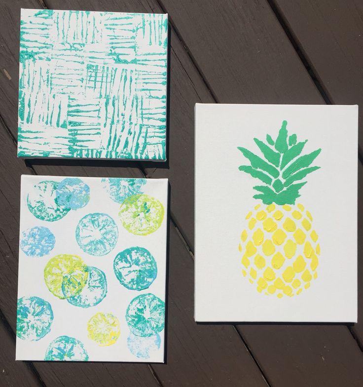 DIY pineapple,  lemon and lime canvas, and geometric pattern wall decor. #college #dorm #pineapple #diy #lemons #limes