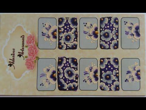 Hortência flor carga dupla,passo a passo,adesivos de unhas - YouTube