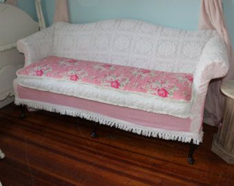 Shabby Chic Sofa Couch Slipcover Chenille Bedspread White Pink Roses vintage camel back custom order