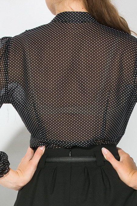 Прозрачная блузка в горошек | 4663 - Шикарная блузка с жабо