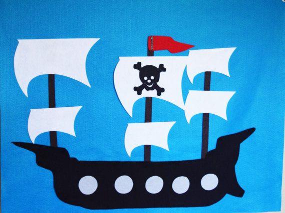 Pirate Party Game, épingle le drapeau Pirate Ship réutilisable feutre Build et…