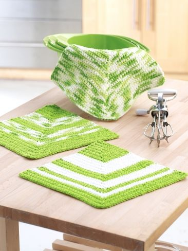 Mitered Dishcloths | Yarn | Free Knitting Patterns | Crochet Patterns | Yarnspirations