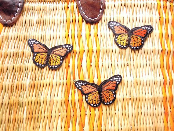 Orange butterly patch Iron-on applique Embroidered