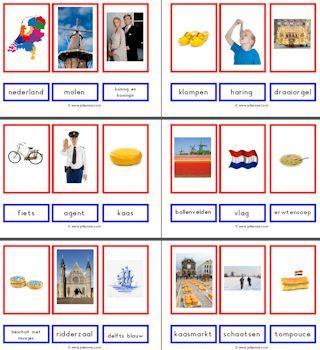 * Woordkaarten: Nederland, koning, koningin,...