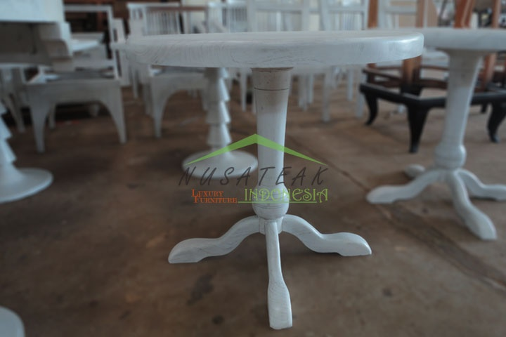 Round Tea Table in White Wash Finish | Luxury Furniture From Indonesia