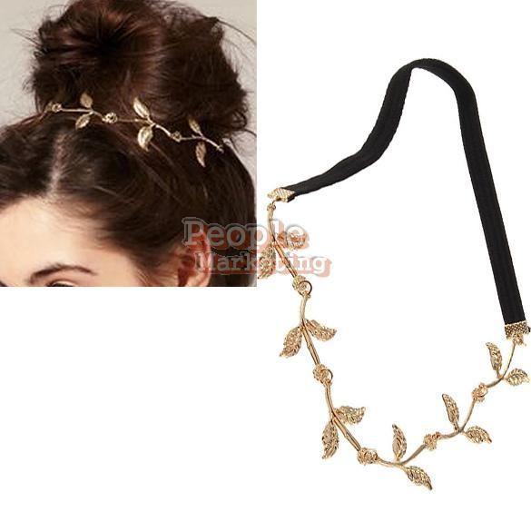 P4PM Leaf Leaves Grecian Garland Head Hair Band Headband Gold Olive Branch
