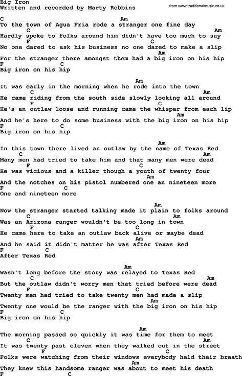 Marty Robbins song: Big Iron, lyrics and chords   Uke and Me ...
