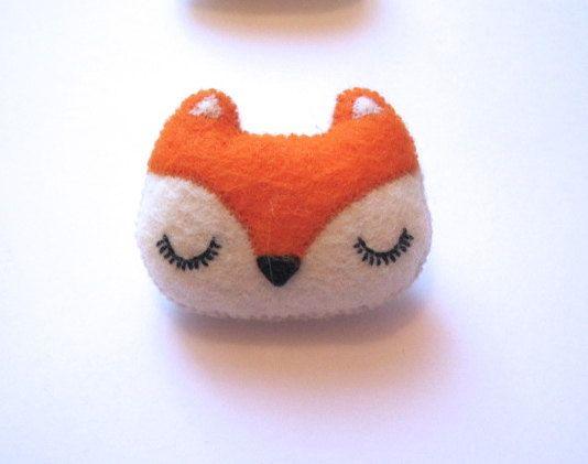 Fox Brooch - Felt Animal Accessory- Woodland Animal Cute Plush Pin Brooch - Valentines Day Gift