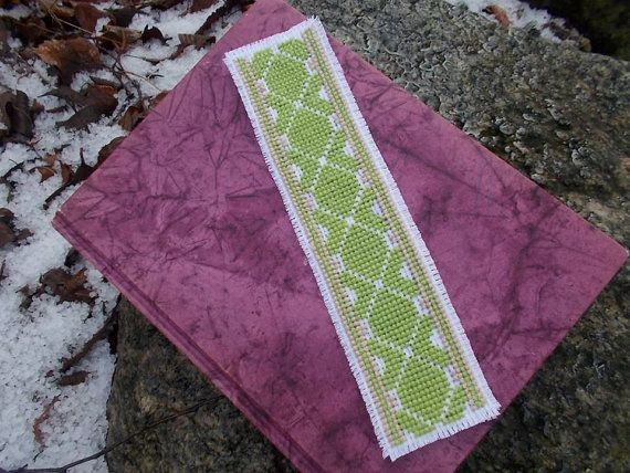 Spring green bookmark cross stitch pattern by CamisTheCrossStitch