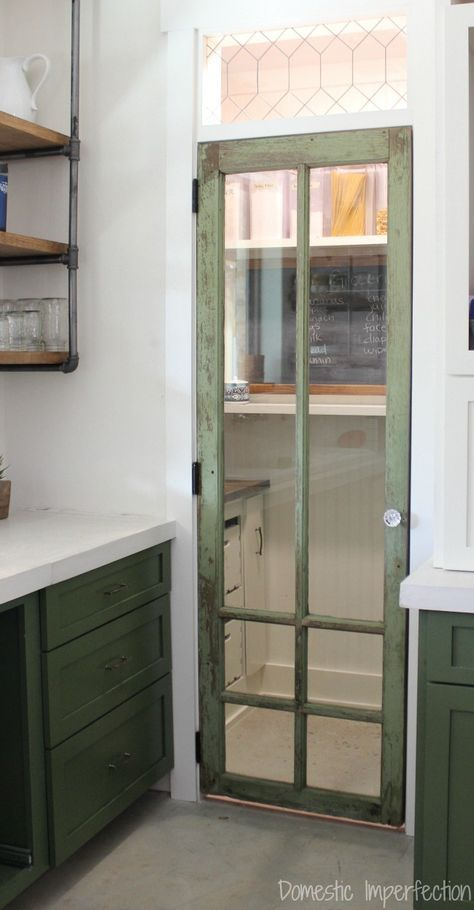 How to make your own leaded glass (so easy!) and all the details on this rustic pantry door.