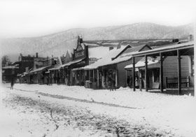 Main Street of Adelong in the gold rush days around late 1860's when this photo was taken.