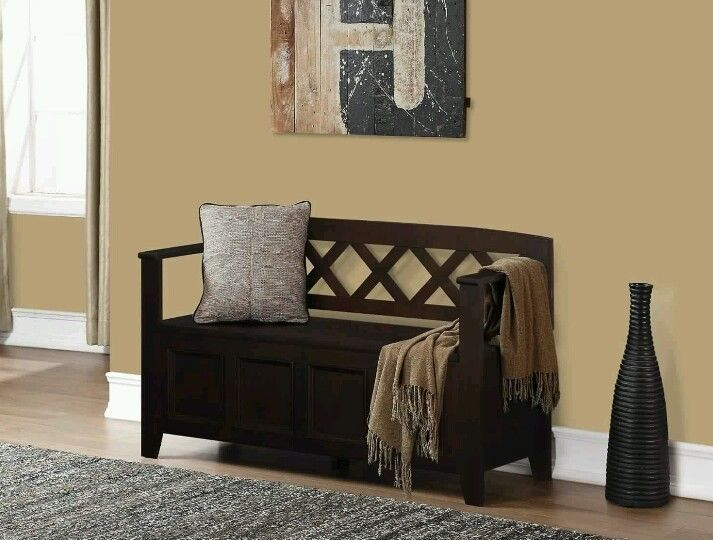 Home Amherst Espresso Brown Foyer Storage Bench Cubby Indoor Hallway Decor Wood #SimpliHome