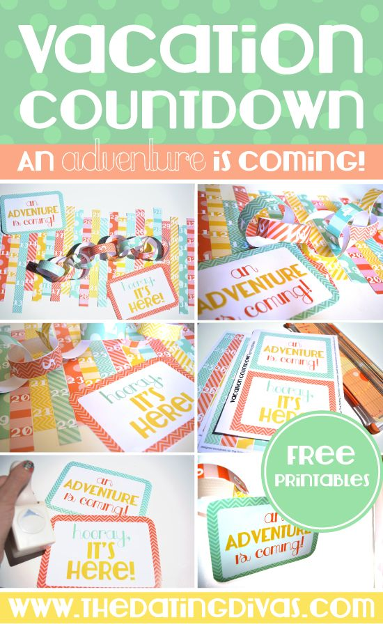 DIY Vacation Countdown Chain with Free Printables. Cute idea to get the whole family excited for a vacation!