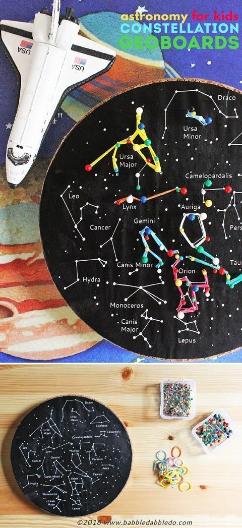 A fun kids' astronomy project: Make a constellation geoboard. A great STEM activity for kindergarten, first grade, and second grade!