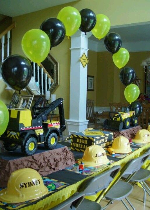 Construction Party simple balloon arch -love the hats.  Put names on hat with vinyl.