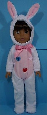 WHITE Easter Bunny Costume Doll Clothes 4 American Girl 14 Wellie Wishers (Debs