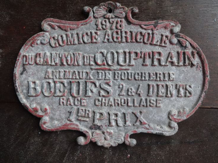 Vintage French agricultural farming beef cattle cow livestock winner red metal prize trophy plaque agriculture farm 1978 Purchase in store here http://www.europeanvintageemporium.com/product/vintage-french-agricultural-farming-beef-cattle-cow-livestock-winner-red-metal-prize-trophy-plaque-agriculture-farm-1978/