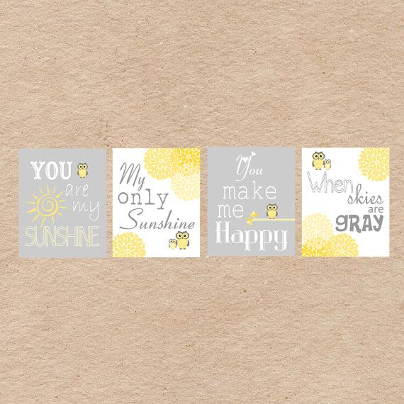 My Sunshine Baby Wall Art Owl Nursery Art DIY Printable