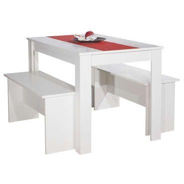 Ensemble 2 bancs + table PAROS coloris blanc - pas cher ? C'est sur Conforama.fr - large choix, prix discount et des offres exclusives Ensemble table et chaise sur Conforama.fr