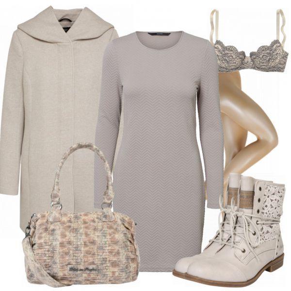 #aus #beige #Freizeitlook #Kapuze #Kleid #Mantel
