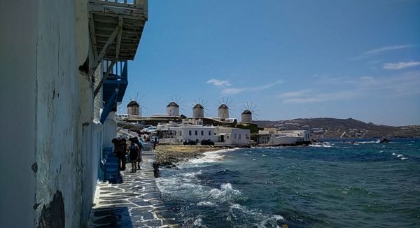 The Windmills from Little Venice, Mykonos Town