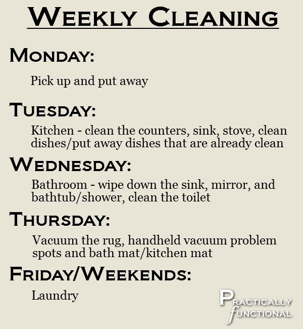 Weekly schedule for cleaning an apartment in 15 minutes a day.  I have to try it. It seems easy and useful