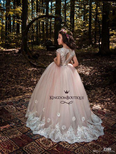 ning83 / Encaje Vestidos de niña de flores Vestidos de primera comunión Cuello de la joya Sin mangas Vestido de los niños para el jardín de verano Boho We
