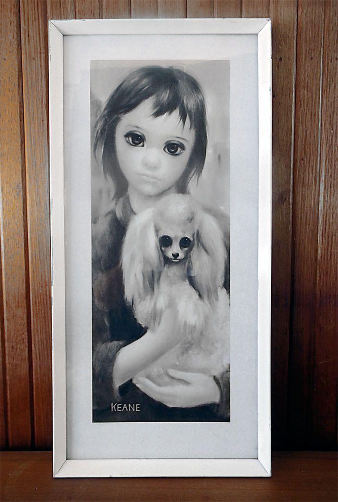 Vintage Keane big eyes artwork 'Best Friend' in original frame
