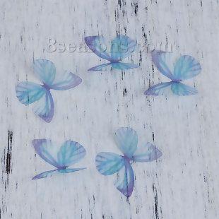 Organza DIY & Handwerk Lila & Blau Schmetterling 30mm x 25mm, 5 Stück