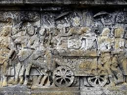 Maya Riding to Lumbini, Narrative relief sculpture, Borobudur scenes from the Buddha's life. CH 9 AB