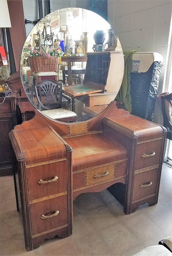 Classic Art Deco 1930s 40s Waterfall Vanity Dresser With