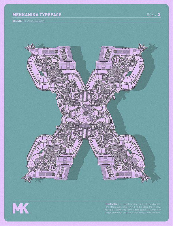 x - mekkanika typeface - riccardo sabatini