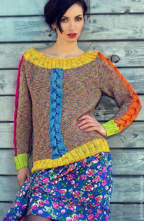 """Купить Свитер Пуловер """"""""Я Жизнь твоя"""""""" - свитер женский, свитер вязаный, свитер спицами"""