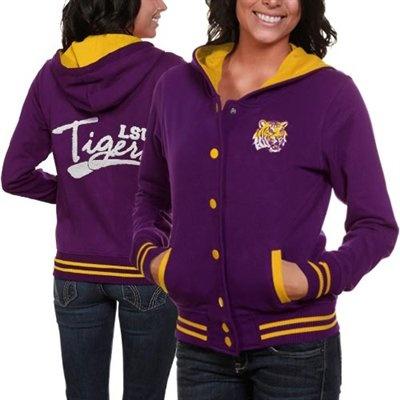 @Fanatics #FanaticsWishList - LSU Tigers Ladies Purple Varsity Blues Full Button Hoodie Sweatshirt