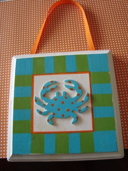 Seaside crab plaque decor - $12