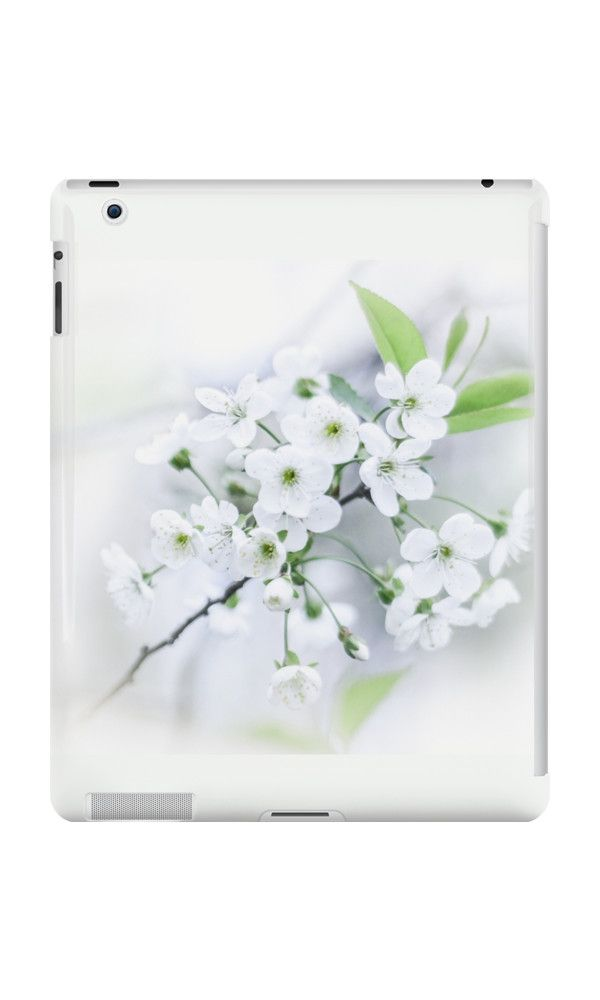 White cherry blossoms.  by Veronika2V. photo, photography, artwork, buy, sale, gift ideas, redbubble, cherry, cherry blossoms, freshness, green leaves, spring flowers, spring trees, tenderness, white flowers, white petals, young, springtime, spring, apple, ipad, skin, case, cover, gadgets