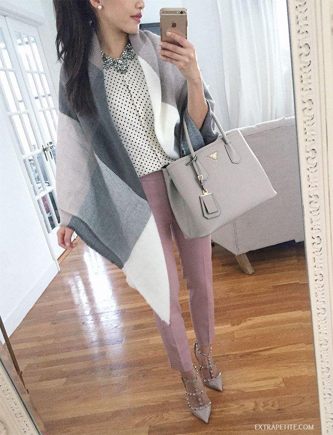 winter-spring dressy office style // pastel wrap, prada tote, pink pants, valentino rockstud pumps, polka dot sweater