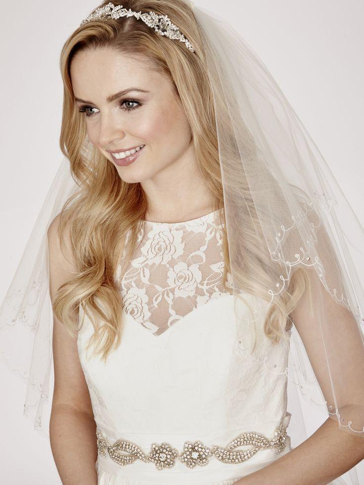 Linzi Jay LA349 Diamante Trim 2 Tier Bridal Veil