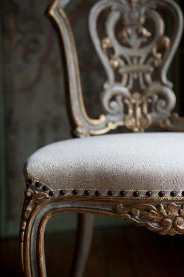 A touch of #Gold adds glamour to your world.  Live Beautifully.  Lovely chair gilt and grey linen.  The Interior Design Possibilities are endless with upholstered furniture.