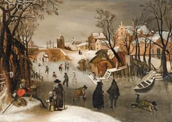 Sebastian Vrancx (Flemish, 1573 - 1647) A Winter Landscape with Skaters on a Frozen Canal