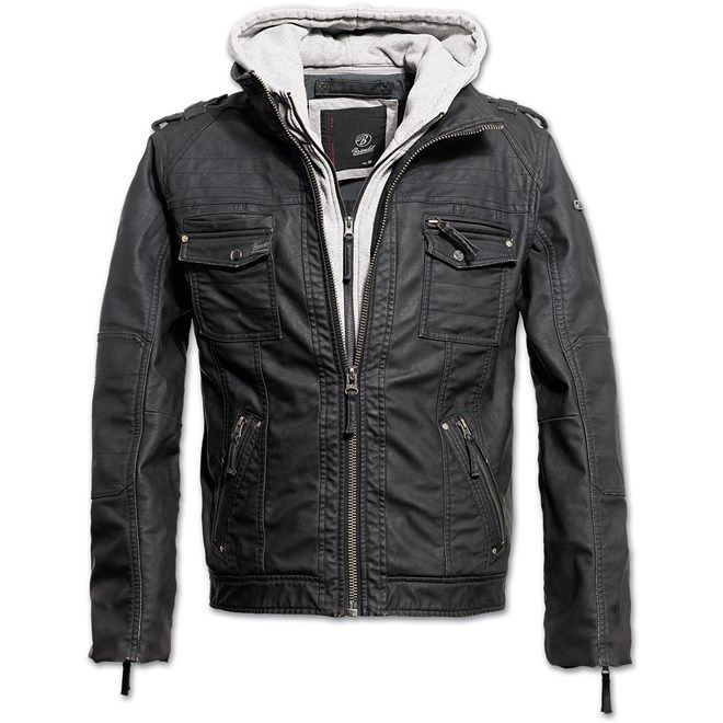 Bunda Black Rock Hooded Leather